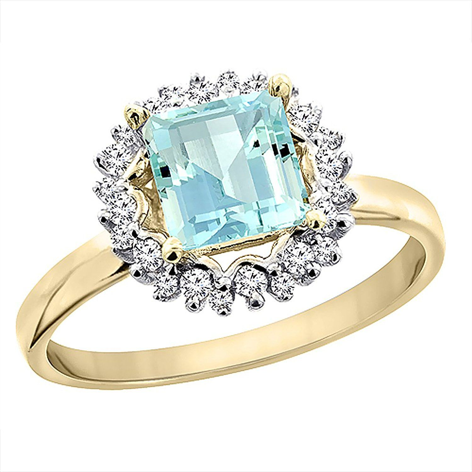 10K Yellow Gold Natural Aquamarine Ring Square 6x6 mm Diamond Accents, sizes 5 - 10 -- You can get more details here : Promise Rings Jewelry