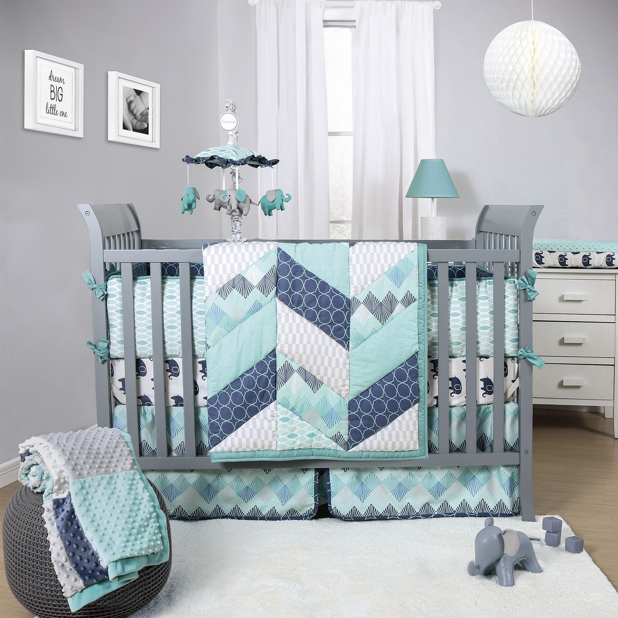 The Peanut Shell Mosaic 3 Piece Crib Bedding Set Features Pieced Herringbone Design With Geometric Prints Grey Blue Nurserybaby