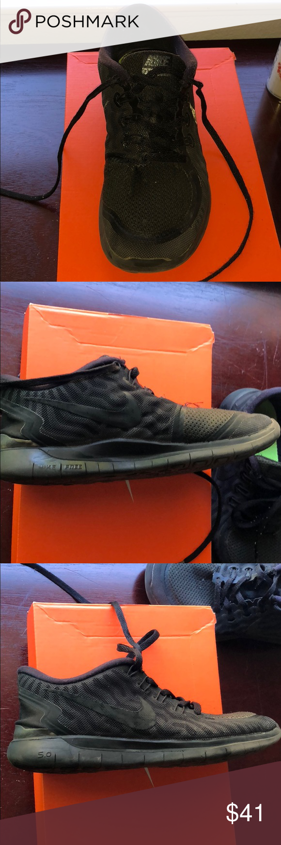 3e0a28307fd9 Nike free 5.0 Woman s   big girl 6.5 very comfy all black design is similar  to zebra stripes I guess you could say with black mesh lots of life left I  just ...