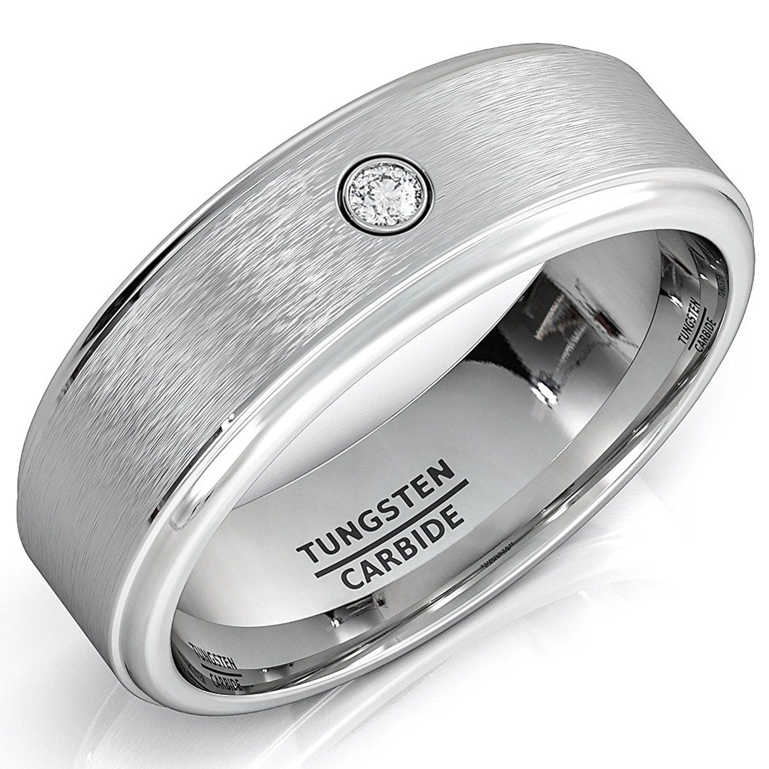 Mens Wedding Band Tungsten Ring Step Down Edges Brushed