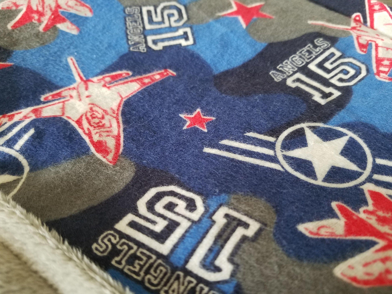 Flannel fleece blanket  Boy Blanket Aircraft Angels Flannel Red White Blue Fleece Grey