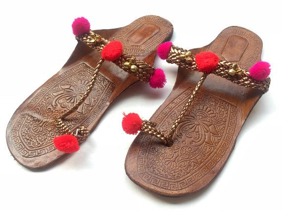 a6800799f84c62 Copper Kolhapuri Chappals with Pom Pom Balls and Ghungaroos Shoes ...