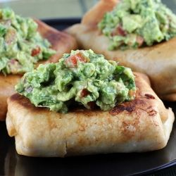 Chicken chimichangas with guacamole.