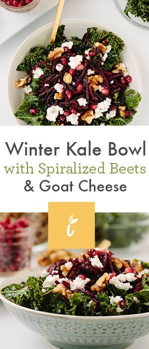 Meet the winter kale bowl: a bowl of massaged kale with festive, seasonaltoppings like roasted spiralized beets, goat cheese, walnuts, and pomegranates. It's festive, it's easy to make…