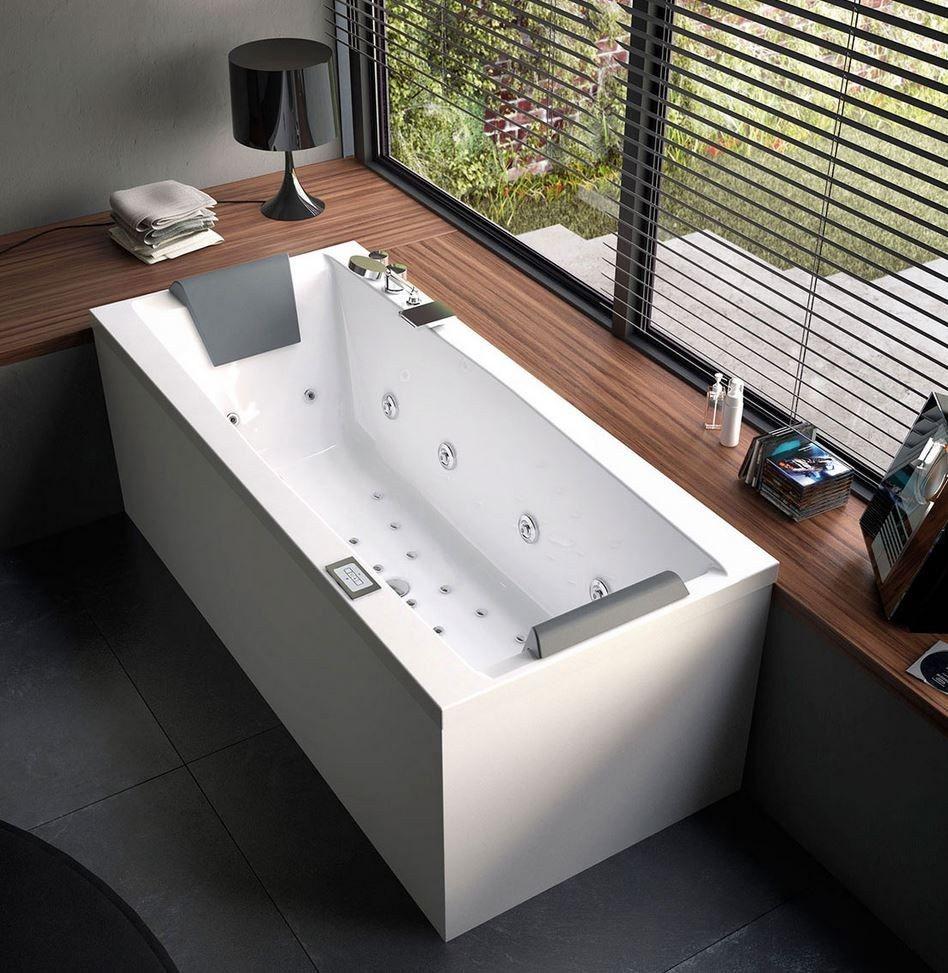 Jacuzzi in master bedroom  Corner whirlpool rectangular bathtub EDEN by Glass  design