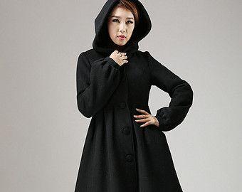 Black wool coat, hooded coat, winter jacket, cashmere coat ...