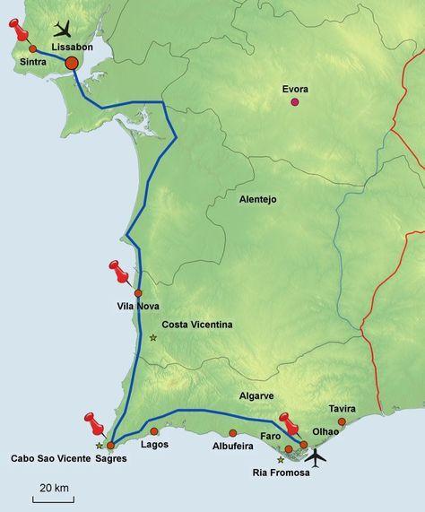 Portugal Mietwagen-Rundreise: An der Küste entlang von Lissabon nach Faro - Wanderreisen, Trekking, Radreisen - geführt und individuell #traveltoportugal
