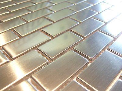 Edelstahlmosaik Mosaik Metall effekt Fliese silber gebürstet matt - fliesen tapete küche