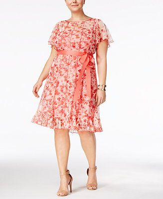 Jessica Howard Plus Size Floral Print Pintucked Dress Plus Size