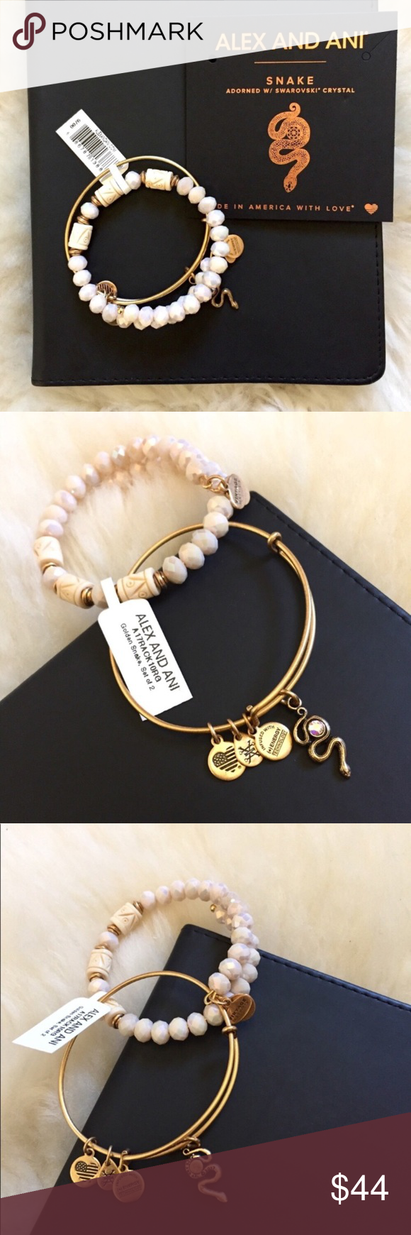 Alex And Ani Snake Beaded Expandable Wire Bangles New With