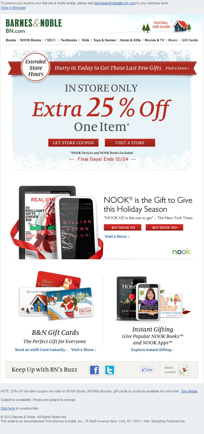 Hurry to a B&N Store - 25% Off One Item, Plus Extended Store Hours ...