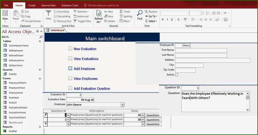 10 Stunning Microsoft Access Employee Database Template