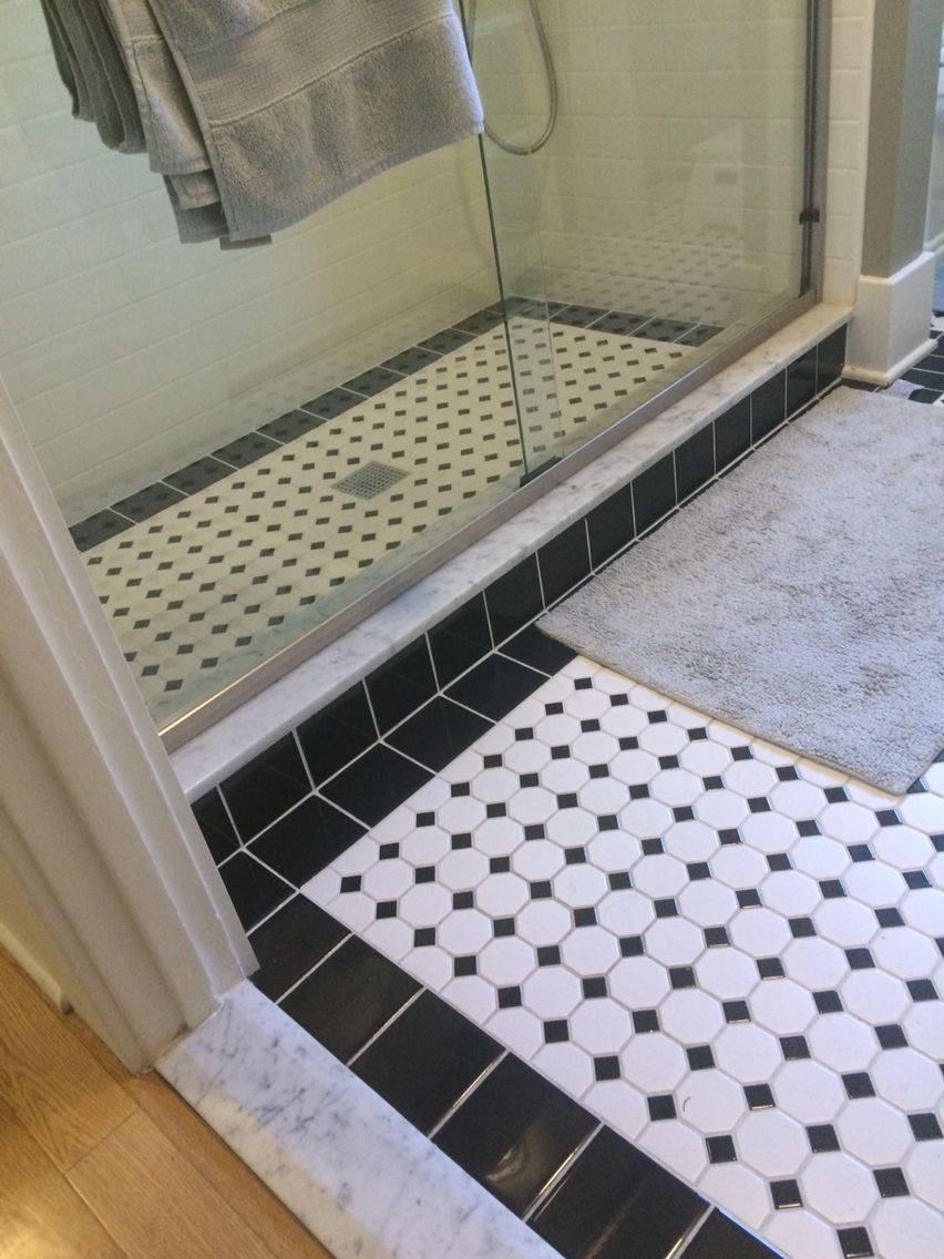 Ceramic hexagon tile floor with black tile border with marble slab ceramic hexagon tile floor with black tile border with marble slab threshold dailygadgetfo Images