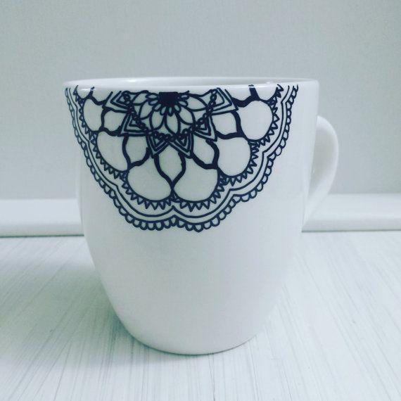smart idea porcelain coffee mugs. Hand Decorated Drawn Mug Tea Coffee Mandala Zentangle Design