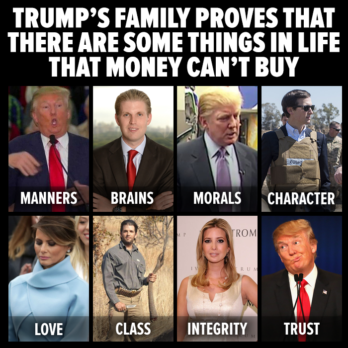 2e3c3926557ac86b2564fb286e0dc697 trump's family proves that there are some things in life that,Trump Family Meme
