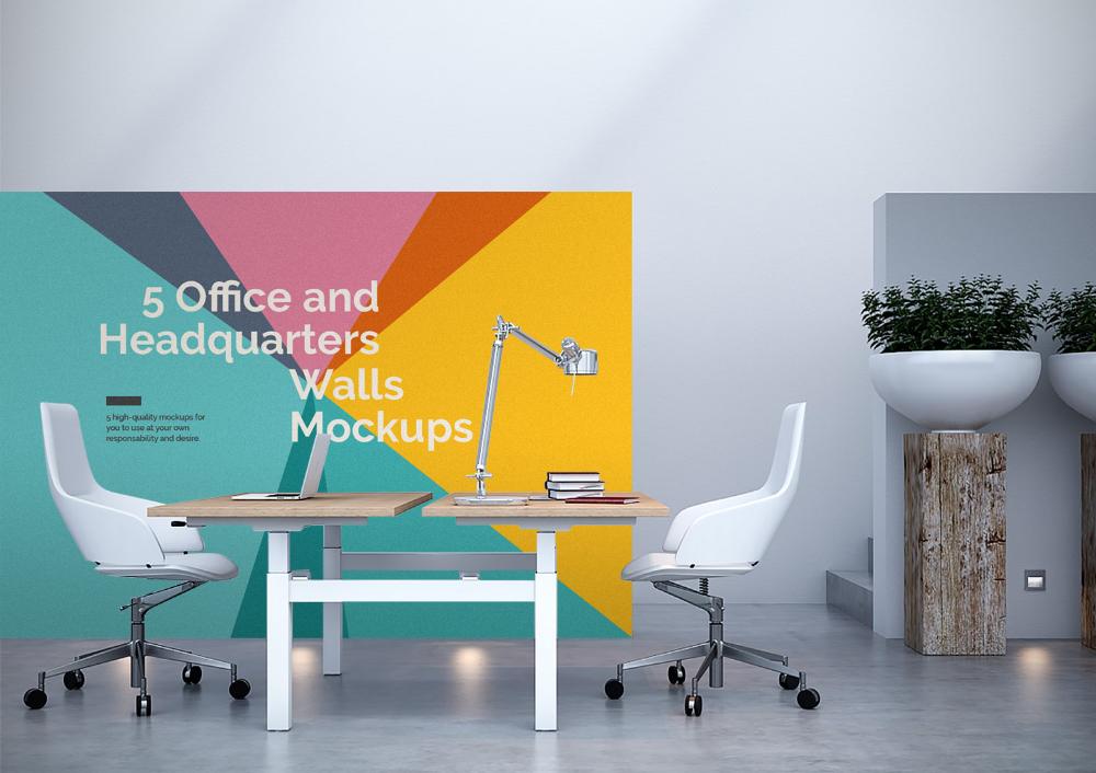 5 Free Office Interior Mockup Psd Free Mockup Office Interiors Office Wall Design Mockup Free Psd
