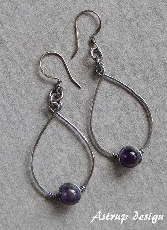 Hoop Earrings – Earrings,silver Amethyst beads,beaded earrings, – a unique product by lisaastrup on DaWanda