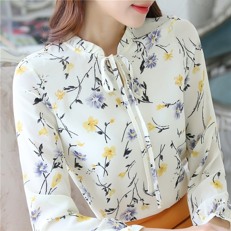 >> Click to Buy << Fashion Women Blouses printing Ladies Long sleeve Shirt bow Sexy Floral Chiffon Blouse Women Tops shirts S2614 #Affiliate