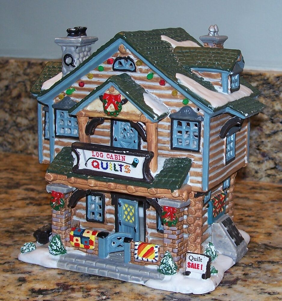 2001 Lemax Vail Log Cabin Quilts Christmas Village House ...