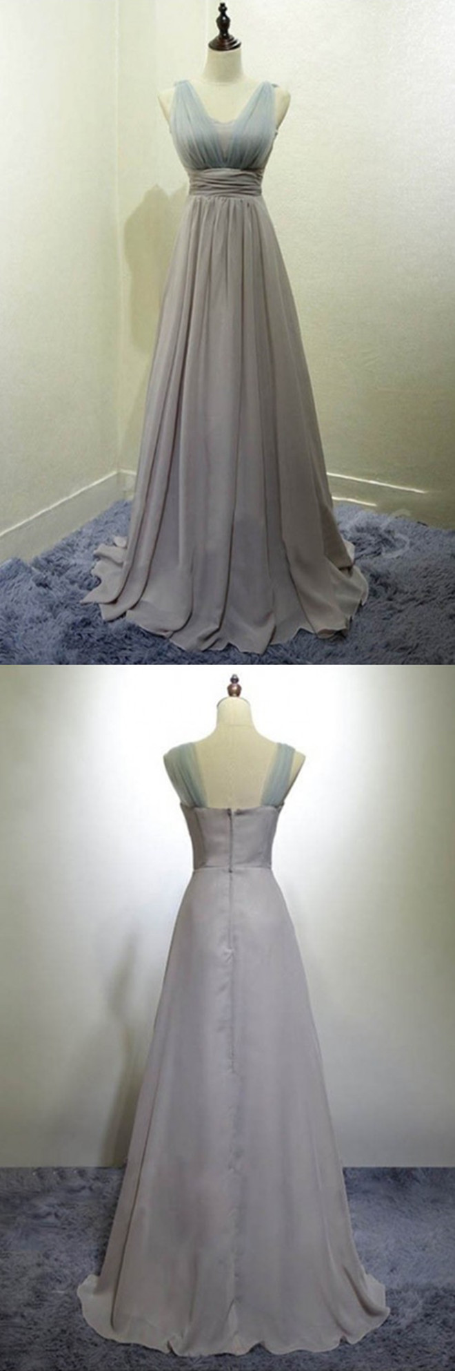 Pretty scoop floor length pleated silver bridesmaid dress long