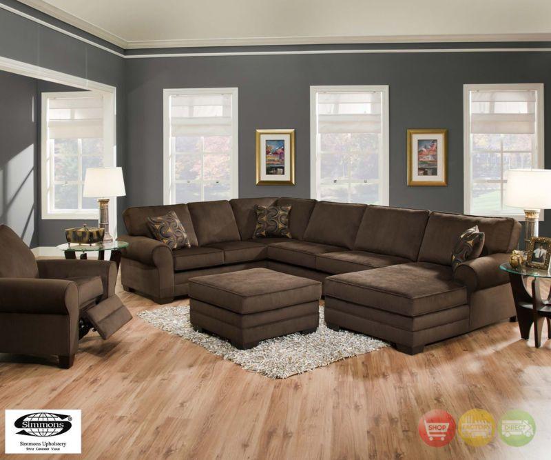 Beluga Deluxe Dark Brown U Shaped Sectional Sofa W Ottoman Brown Sectional Sofa Brown Living Room Living Room Grey