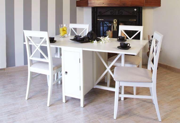 Mesa de alas eneko blanco muebles coloniales blancos for Muebles coloniales blanco