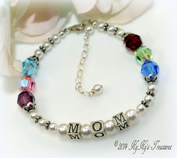 Mothers Birthstone Bracelet Sterling Silver Mom Jewelry