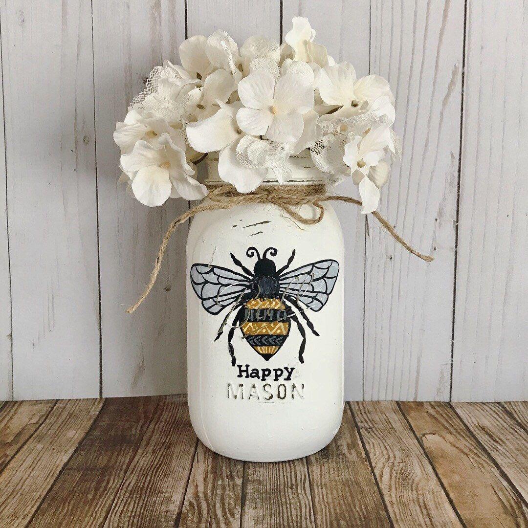 Home Design Gift Ideas: Bumble Bee Mason Jar, Bee Happy, Bank, Bedroom Decor