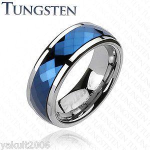 Tungsten Carbide Blue IP Multi Faceted Prism Cut Spinner Men's Ring Wedding Band | eBay