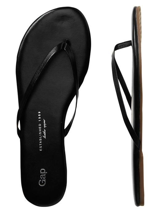 Gap Leather Flip Flops - True Black  Sandals  Leather -3866