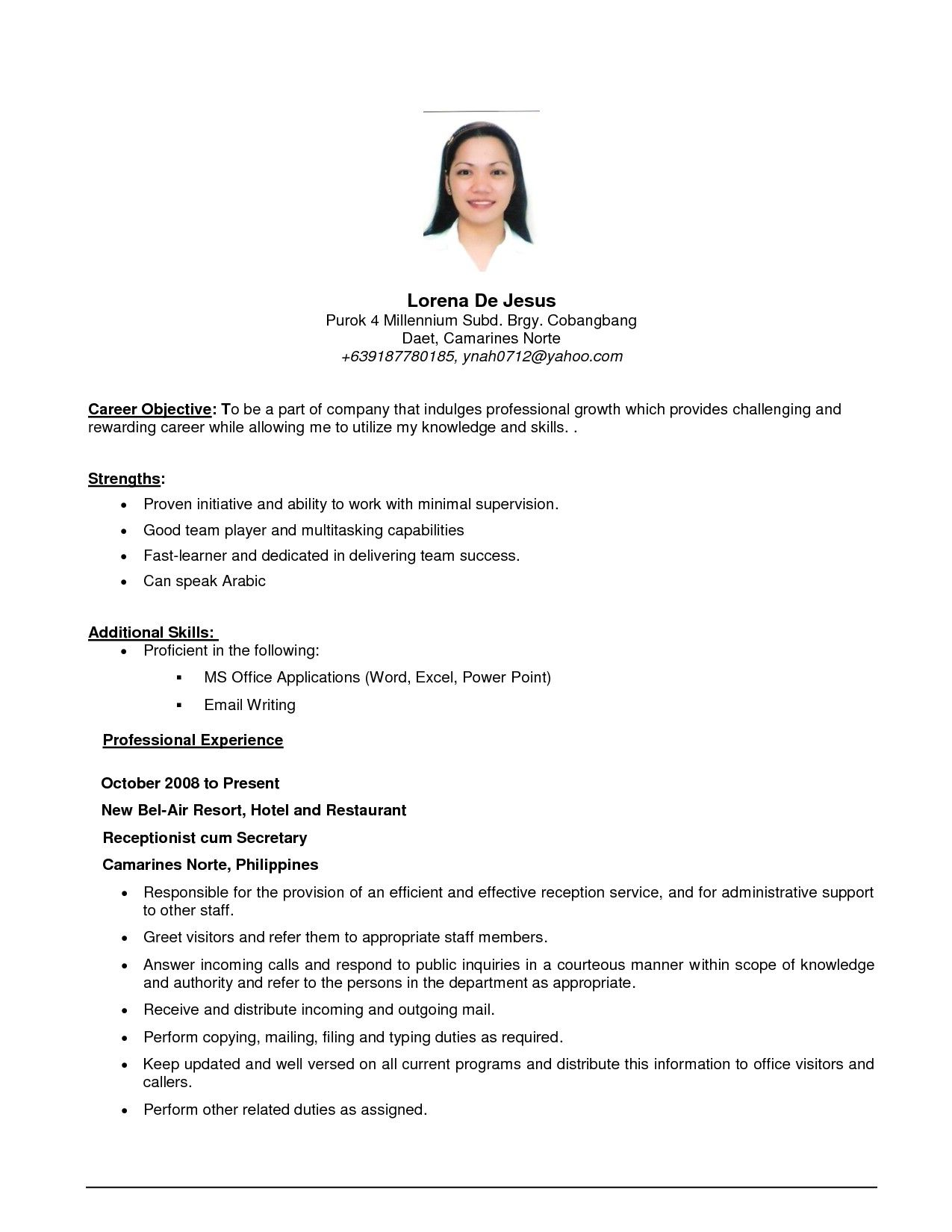 objective in resume for job application
