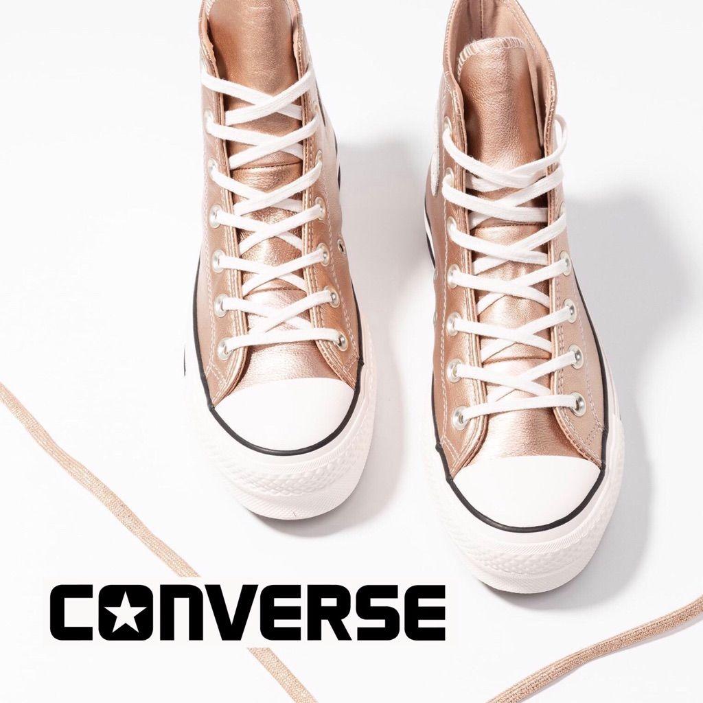 ⬇️ Converse Rose Gold Platform High Top