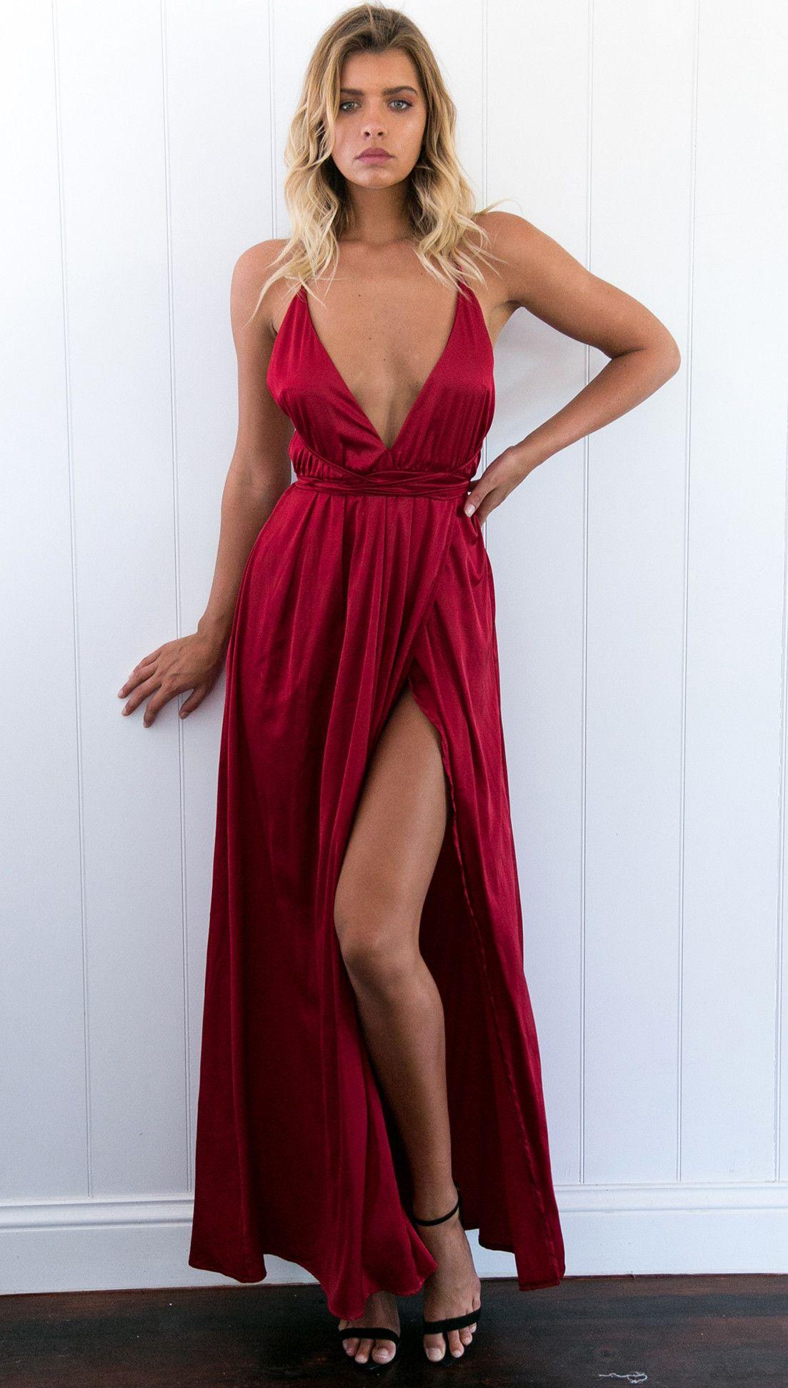 Sexy vneck long dark red prom dress evening dress with criss cross