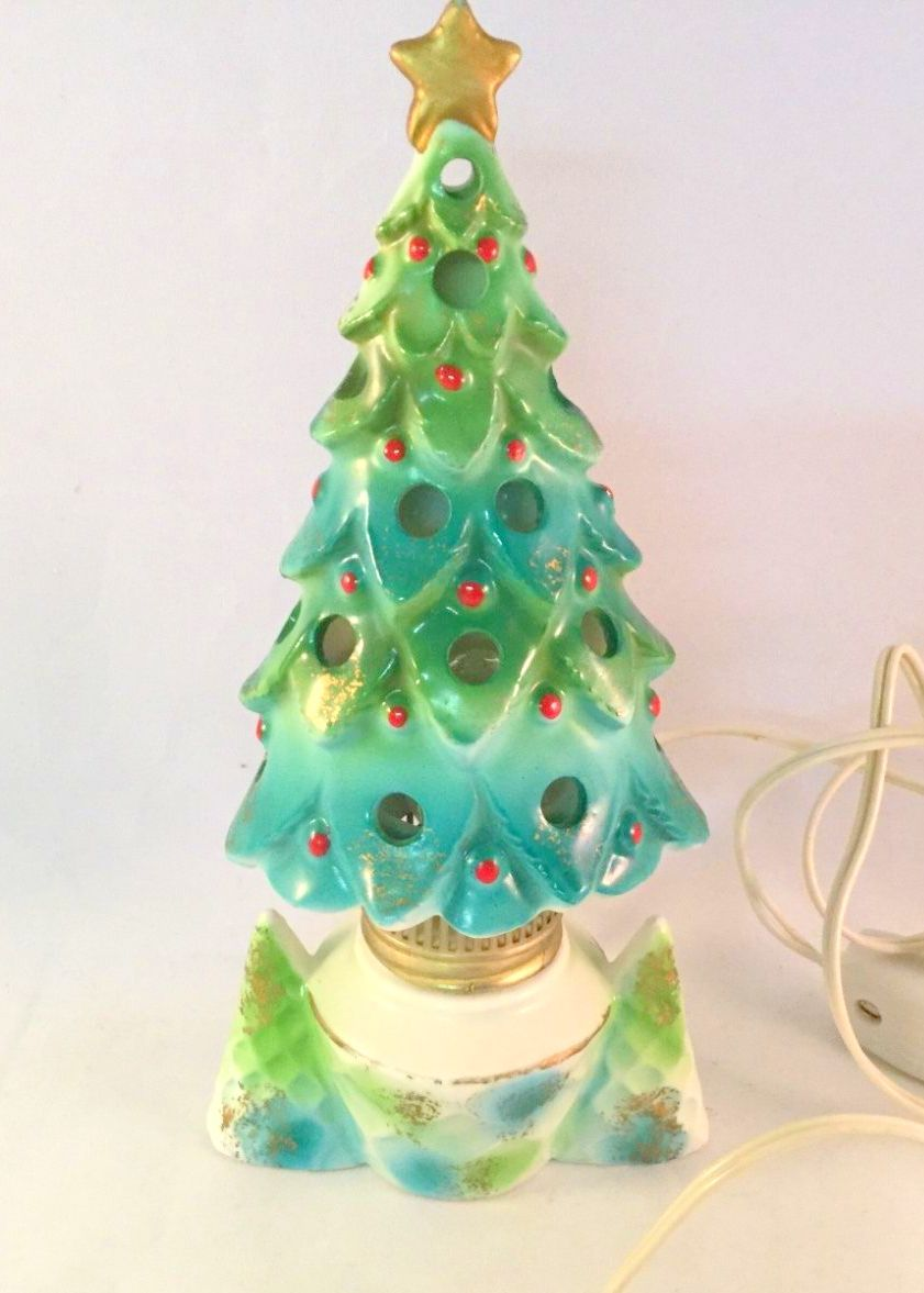 Htf Tilso Christmas Tree Lamp 64 00 Vintage Ceramic Christmas Tree Christmas Figurines Ceramic Christmas Trees