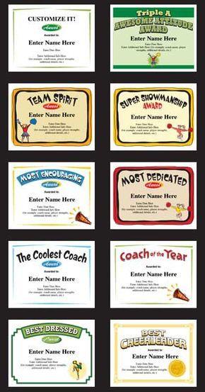 Cheerleading Certificates and Cheerleader Award Templates A - award templates