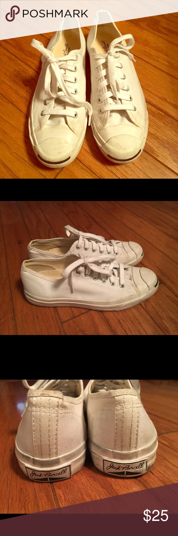 Converse Jack Purcell white canvas size women's 8 Converse jack Purcell shoes. Size women's 8 or EU 39. Shoes are canvas and in great shape. No holes or smells. They show some light normal wear. I'm sure they can be cleaned up easily. Converse Shoes Sneakers