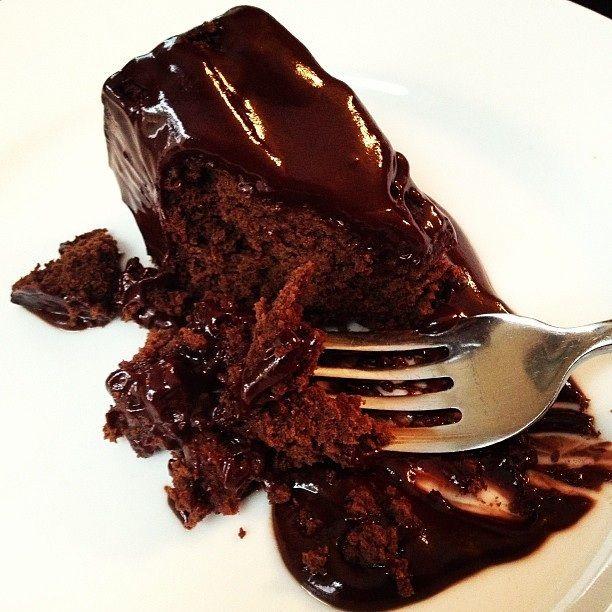 Flourless Dark Chocolate Cake with Dark Chocolate Ganache.  Plus I add in some cacao nibs for good antioxidant measure.