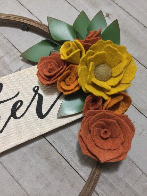 Photo of Embroidery hoop wreath, felt flower wall decor,modern farmhouse wreath, gather wreath,fall Home decor, fall felt flowers, thanksgiving decor