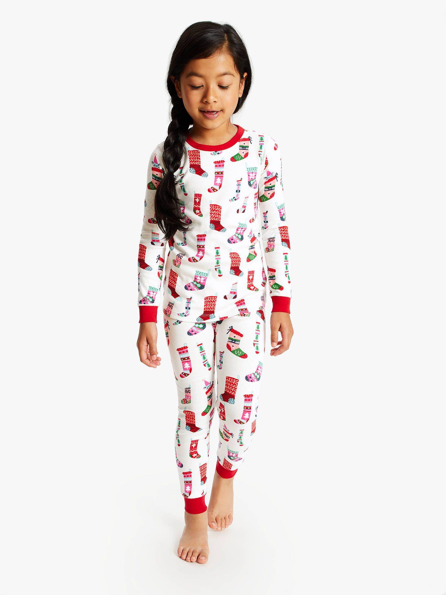 Hatley Girls' Holiday Stockings Print Pyjamas, White/Multi