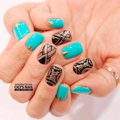 Beautiful Aqua Nails Designs Youll Want To Try Pinterest Aqua Nails