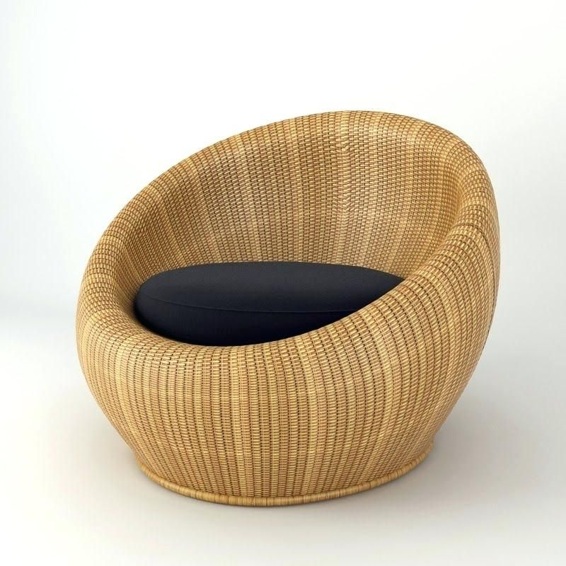Round Wicker Chair Natural Rattan With Dark Coloured Seat Cushion Concept Repair Singapore 놀이터