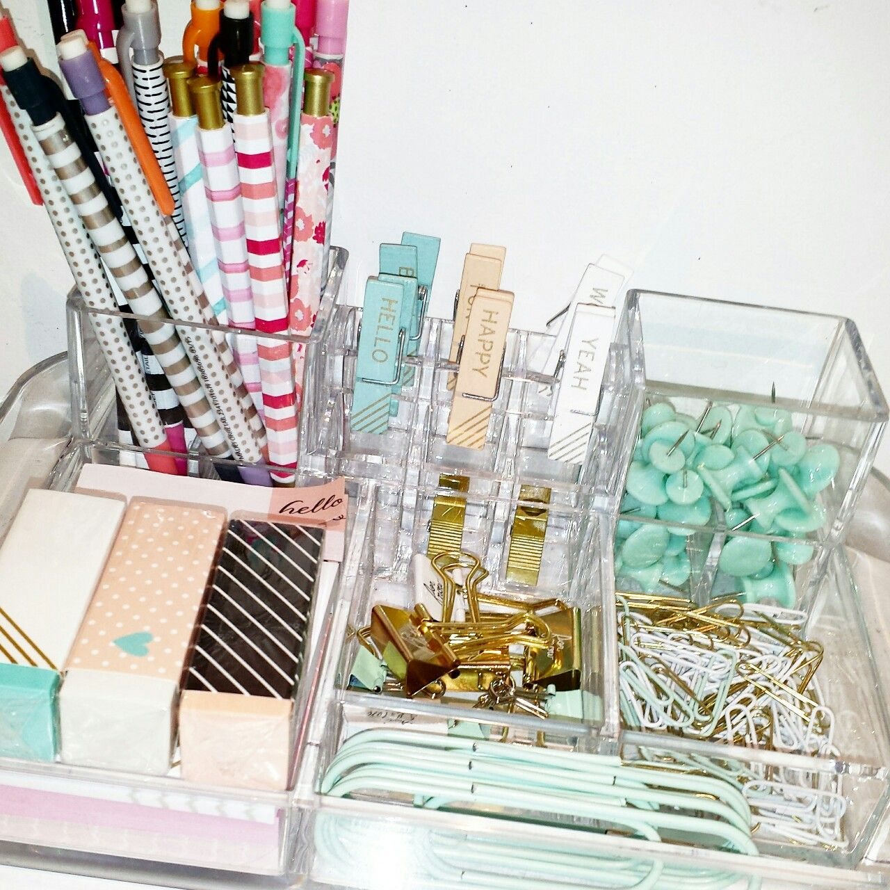 Bedroom Art Supplies: My Desk Organization! ..acrylic Organizer, Target Dollar