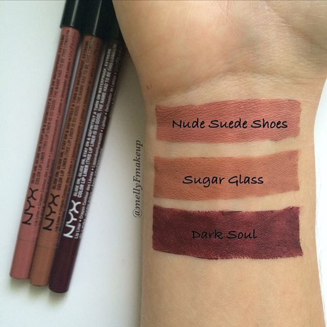 NYX Slide On Lip Liners in Nude Suede Shoes, Sugar Glass, and Dark Soul. Follow my instagram @mellyfmakeup for more!