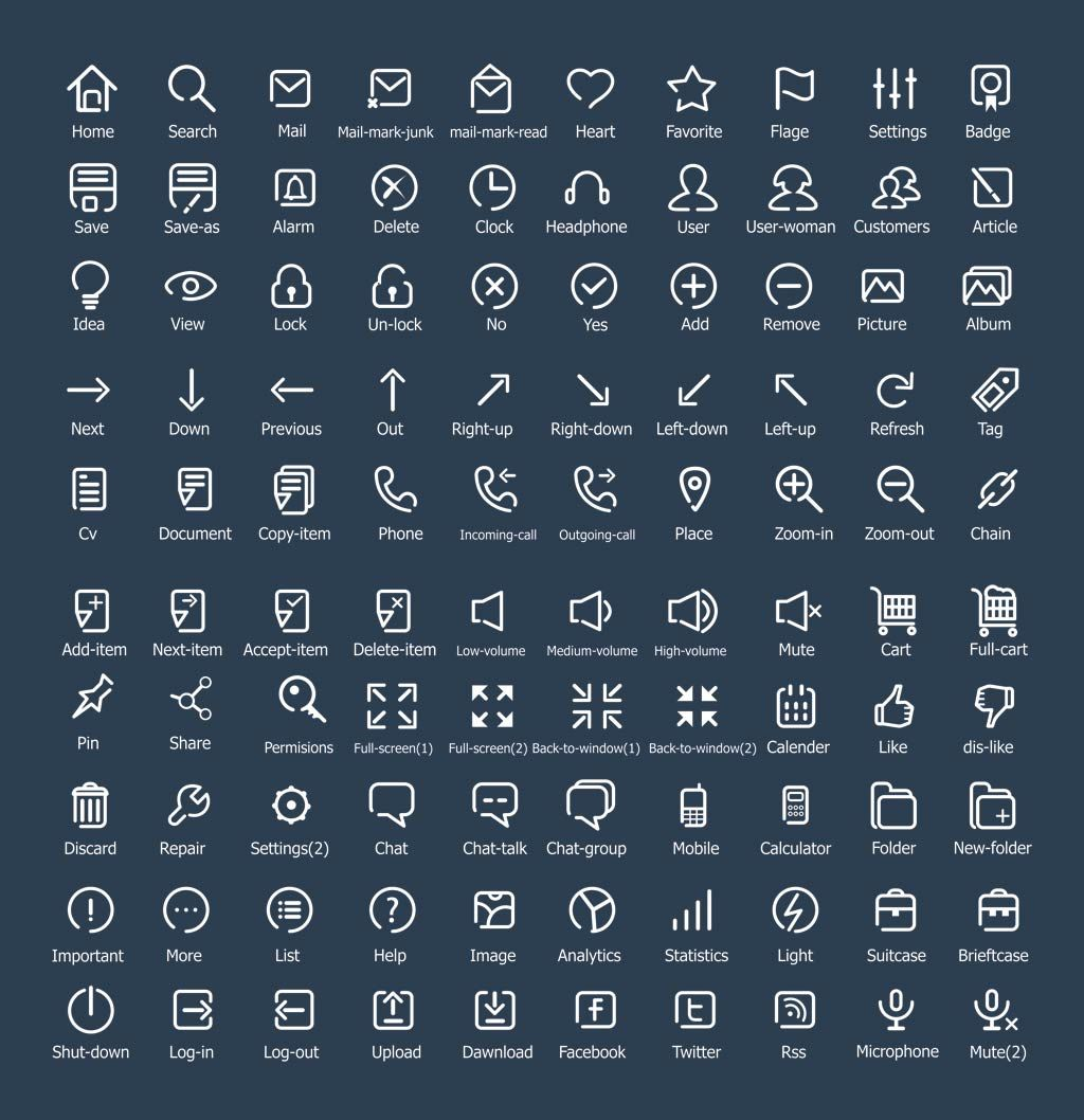 100 Free Flat Outline Icons created by Designrazzi in