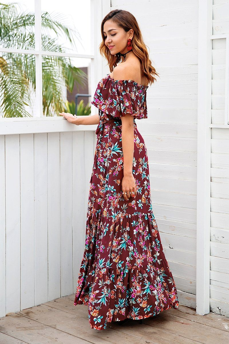 90f59260602 Rose Maxi Of The Shoulder Dress Maxi Dress Wedding