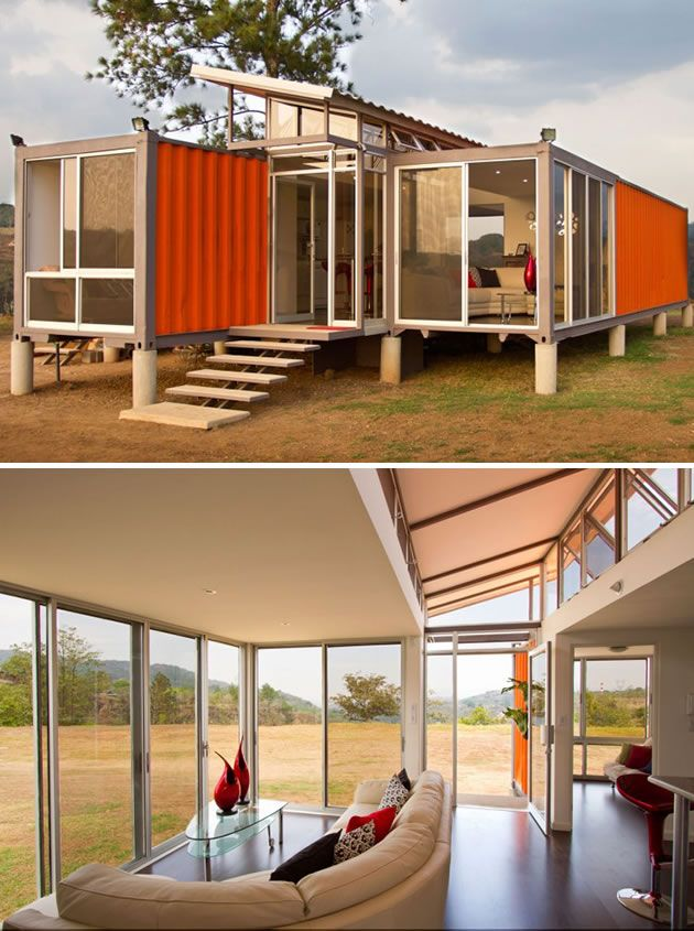 Another Instance Of Multiple Shipping Containers Being Used The Maison Container House Shipping Container Homes Eco House Design
