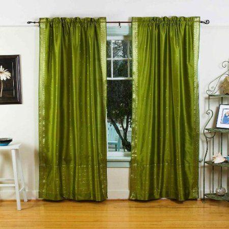 Amazon Com Olive Green 84 Inch Rod Pocket Sheer Sari Curtain