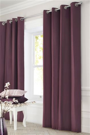 Bedrooms · Plum Cotton Blackout Eyelet Curtains