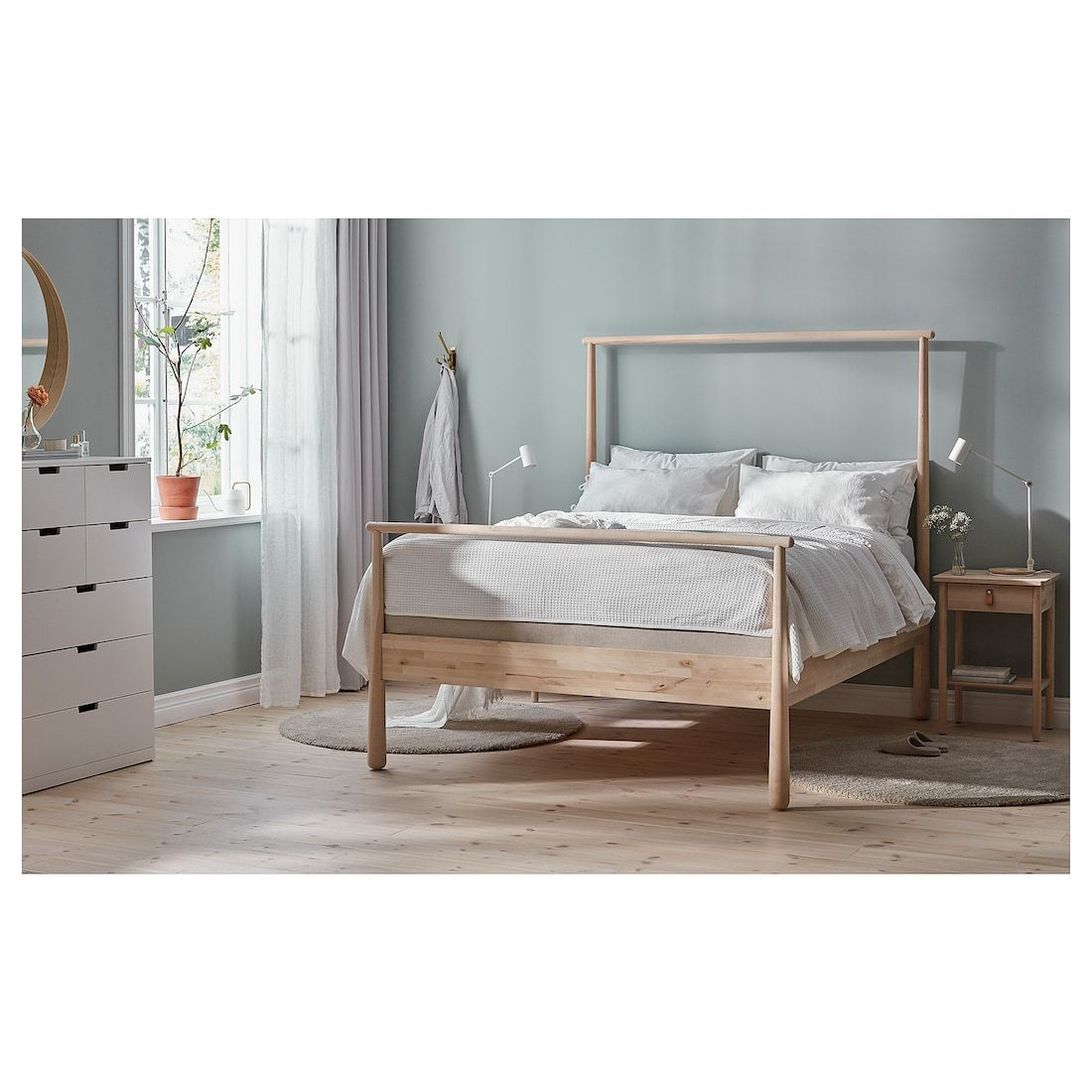 Gjora Bed Frame Birch Luroy Queen Light Wood Bed