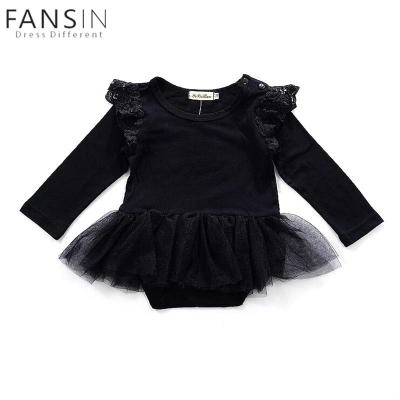 71b3cd5c7 Newborn Baby Girls Cotton Ruffles Lace Dress Long Sleeve Rompers ...